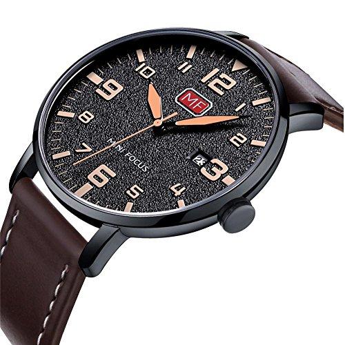 Dilwe Stecker Uhr, 4 Farben Fashion Metall Wasserdicht Quarzwerk Armbanduhr mit Verstellbarem Leder Band und Fluoreszierende Zeiger(1)