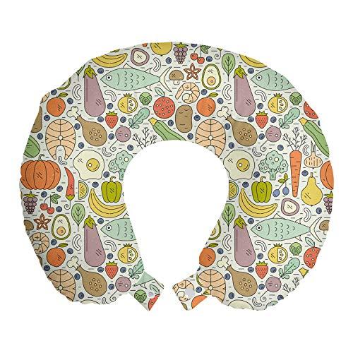ABAKUHAUS Gemüse Reisekissen Nackenstütze, Paleo Diet Foods Entwurf, Schaumstoff Reiseartikel für Flugzeug und Auto, 30x30 cm, Kokosnuss und Multicolor