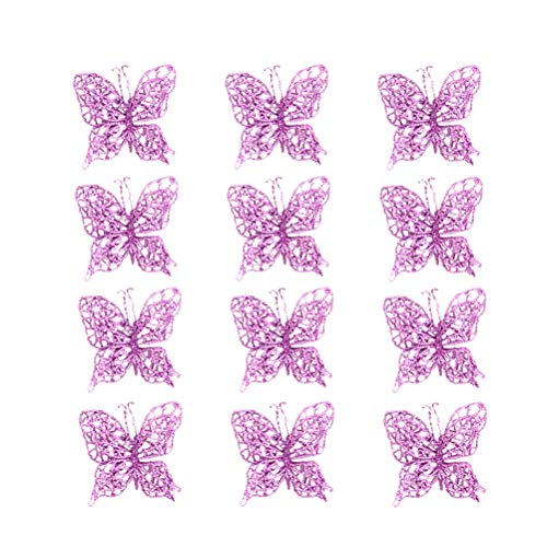 ABOOFAN 12PCS Christmas Glitter Butterfly Ornament DIY Craft Butterfly Clip Simulation Hollow Out Butterfly for Christmas Tree Party Wedding Decor (Pink)