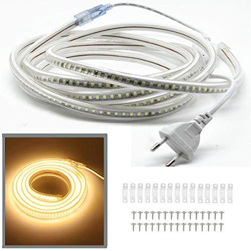 FOLGEMIR 15m Warmweiß LED Band, 2835 SMD Lichtleiste, 144 Leds/m Strip, sehr helle Beleuchtung - 900 LM pro Meter, IP65 Lichtschlauch, 230V Streifen