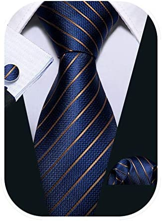 Barry Wang Business Ties for Men Blue Stripe Necktie Set Handkerchief Cufflink product image