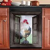 Vintage Rooster Kitchen Decor for Dishwasher Door,Refrigerator Country Chicken Dishwasher Magnet Cover,Cock Magnetic Dishwasher Sticker,Window Morning WOO WOO Cabinet Sticker(Magnetic Sticker)