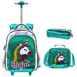 Mochila con Ruedas para niñas 3PCS con Fiambrera Caja de lápices para niñas Unicornio con Lentejuelas