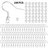 MYCreator - Juego de ganchos y tapones para pendientes de plata de ley 925, 100 unidades, ganchos de alambre francés con 100 piezas de anillos de silicona transparente para hacer joyas