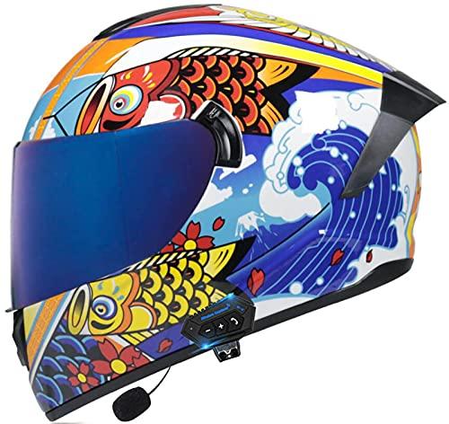 STRTG Casco De Motocicleta con Bluetooth, Abatible hacia Arriba, Modular, para Motocicleta Casco De Motocicleta Integrado, Aprobado por ECE Dot E,M