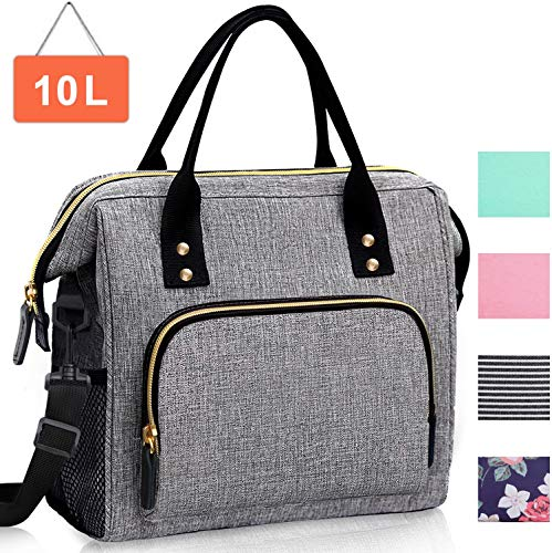 Insulated Lunch Bag, Large Lunch Tote Bag with Adjustable Shoulder Strap, Leakproof Reusable Cooler Lunch Bags for Women and Men Work Office School Picnic Grey