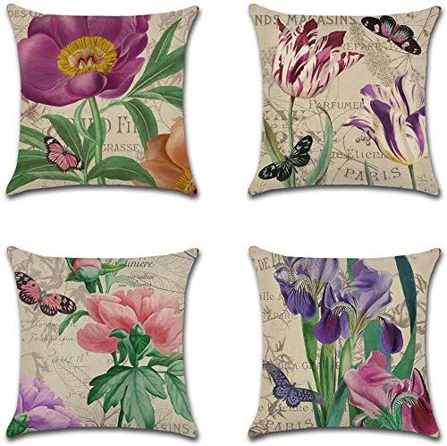 ZZLSSDPFC Cotton Linen Throw Pillow Case,Perfect To Outdoor Patio Garden Blench Living Room Sofa Farmhouse Decor 45cmX45cm
