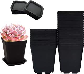 3 Inch Black Nursery Pot Flower Pots,24 Pcs Plastic Flower Pots for Plants,Square Plastic Plant Pot Plastic Starter Pots w...