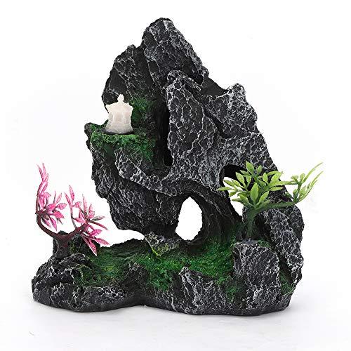 Tnfeeon Aquarium steentje, hars kunstsimulatie Mountain View decor rok hiding cave aquarium ornament