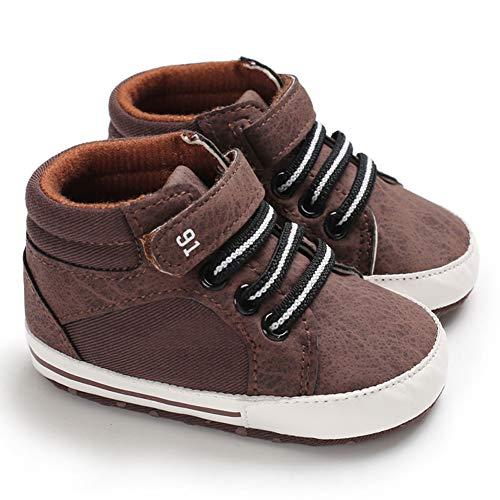 Sabe - Zapatilla de deporte de piel suave con suela de bebé, para niños, color Beige, talla 0-6 meses