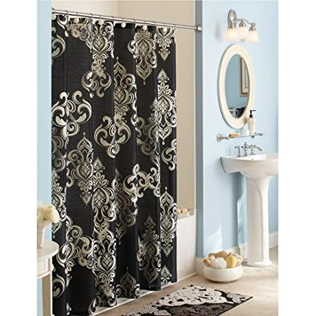 Elegant Traditional Black White Gray Damask Fabric Shower Curtain