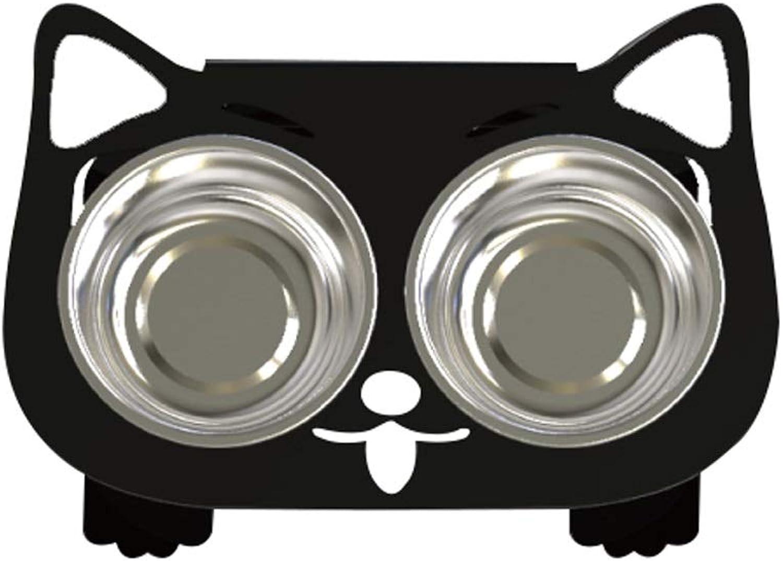 Cat Bowl Dog Bowl Pet Cat Dining Table,Platform Pet Feeder, Elevated Cat Feeder Raised Cat Bowl, Stainless Steel (color   Black B)