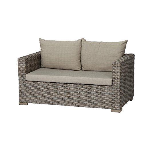 Siena Garden Lounge 2er Sofa Veneto, 84x148x67cm, Gestell: Aluminium, Fläche: Gardino-Geflecht in sepia, FSC 100{03c3fb972a328b8f337636973f8f1f1de9394de8eee0133a9ad57f68e8f71a6e}, Kissenbezug aus Polyester mit 250g/m² in beige
