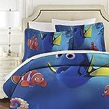 Findet Nemo 3-teiliges gestepptes Tagesdecken-Set für Doppelbett (177 x 218 cm) + 2 Kissenbezüge, leichtes Luxus-Bettüberwurf-Set