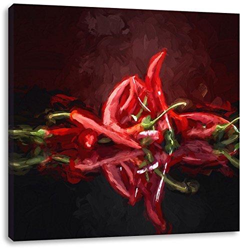 Vurige rode chilipepertjes kunstCanvas Foto Plein | Maat: 70x70 cm | Wanddecoraties | Kunstdruk | Volledig gemonteerd