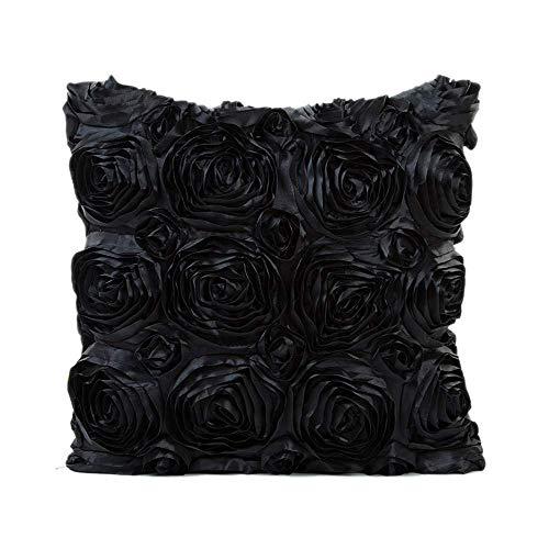 Kissenbezug, gestickt, klassisch, quadratisch, für Sofa, Schwarz , 43 x 43 cm