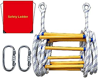 SUTON Emergency Fire Escape Ladder Flame Resistant Safety Rope Ladder with Hooks Fast to Deploy & Easy to Use Compact & Ea...