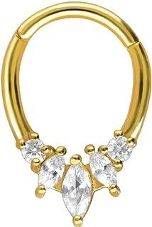 PIERCINGLINE - Piercing ad anello in acciaio chirurgico, a forma di goccia + 5 cristalli monouso, per naso, setto, orecchi...