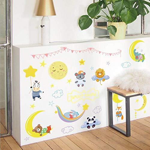 Super schattige cartoon maan sterren muursticker kinderkamer decoratie mooie baby jongens meisjes slaapkamermeubels aftrekplaatjes dier sticker
