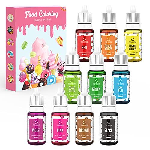 Colorante Alimentario Liquido 10x10ml Colorante Reposteria Alta Concentración Colorante Alimentario Para Colorear Bebidas Macaron Fondant Pasteles Galletas