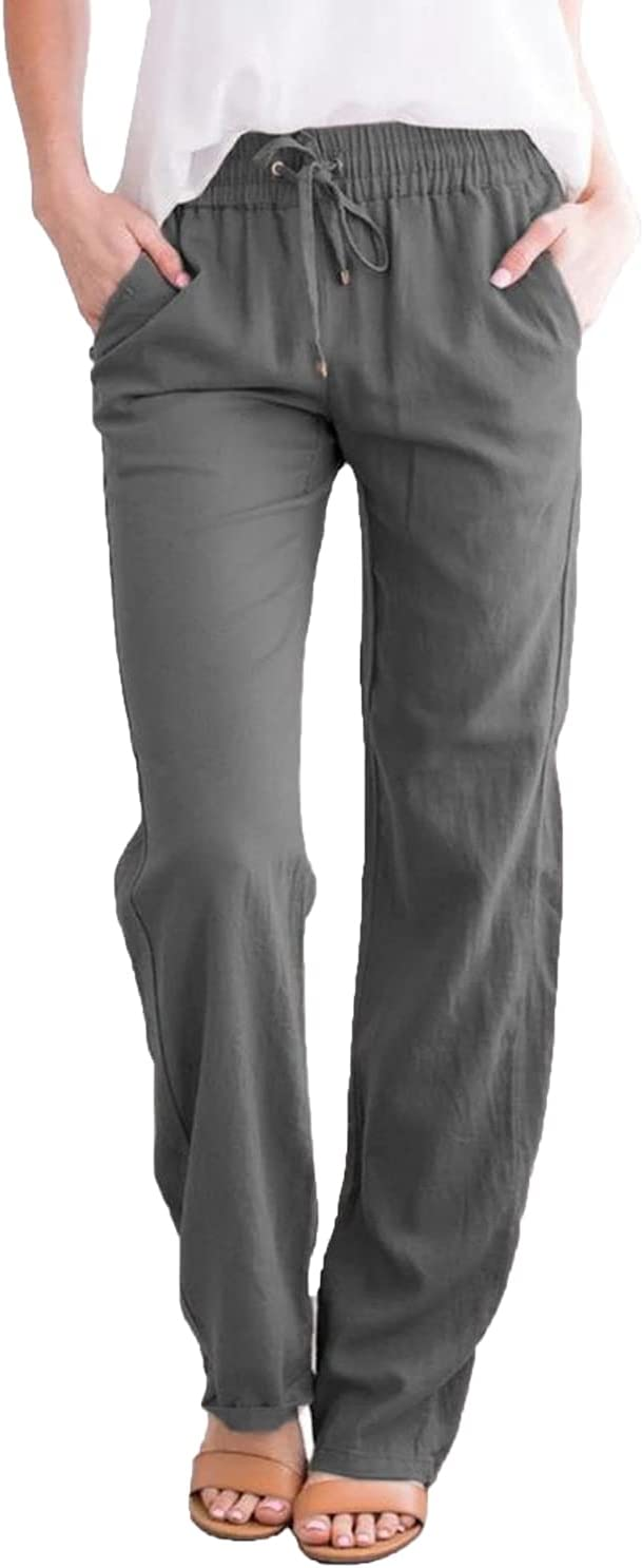 Women's Casual Straight-Leg Pants Ankle Summer Fashion Beach with Pockets Trousers Drawstring Elastic Sportpants (3X-Large,Dark Gray)