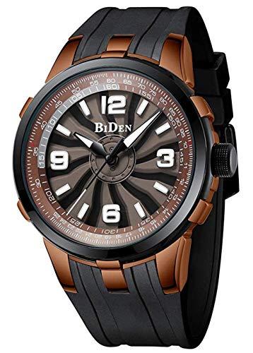 Männer drehen Vorwahlknopf-Luxuxspitzenmarken-Silikon-Bügel-Stereozifferblatt Mens-Sport-Armbanduhr-wasserdichte männliche Uhr, Kaffee