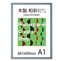 木製ポスターフレーム 和彩 A1サイズ 841x594mm UVカット表面シート (ブルーグレー)