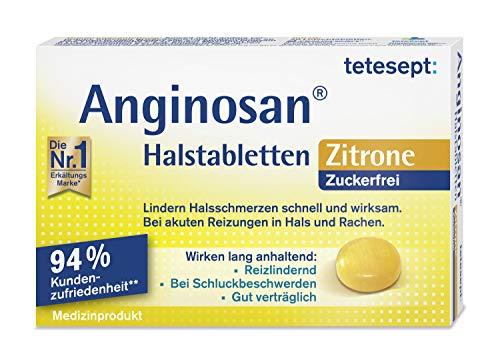 tetesept Anginosan Halstabletten Zitrone - zuckerfrei – Halsschmerztabletten gegen akute Reizungen in Hals & Rachen – 1 x 20 Stück