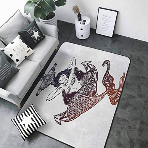 """Soft Area Children Baby Playmats Anchor,Sketch Style Mermaid with Seashells and Scales Mythological Creature Design,Navy Blue and White 60""""x 72"""" Best Floor mats"""