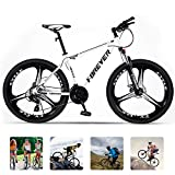 Vicicletas Montaña Adultos, 3 Radios Ruedas Bicicleta de Montaña de Acero de Alto Carbono, Delante Suspension MTB con Freno de Disco,Blanco,27 Speed 27.5 Inch