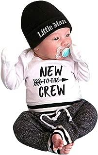 Newborn Infant Baby Boy Outfits,Fineser 3Pcs Girls Letter New Crew Print Romper Tops +Pants+Hat Clothes Set Size 0-18M