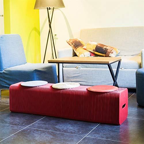 YJXD 3 Personen Kreative Folding Kraft Paper Hocker Nordic Tisch Stuhl Wohnzimmer Kinderparty Ergänzungsmöbel Bank Sofa (Color : 3 People Stool red)