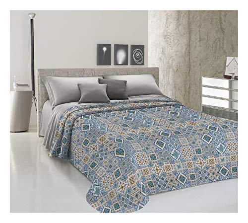 HomeLife Frühling Sommer leichte Tagesdecke [220x280], Qualität aus Italien|Hergestellt aus hochwertiger Baumwolle|Geometrisches Motiv|Einzelbettdecke aus feinem Stoff für warme Jahreszeiten Blau