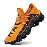 CAGAYA Sportschuhe Herren Laufschuhe Sneaker Mesh Atmungsaktive Sport Damen Turnschuhe Freizeitschuhe Schuhe größe 36-48 (43 EU, Gelb)