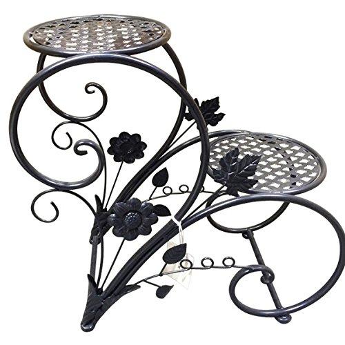 Kronleuchter Estante for Flores de Hierro Fundido Estante for Flores de Estilo Europeo con Suelo de baldosas (Color : Black)