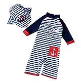 AMIYAN Kinder Baby Jungen Bademode Einteiler StreifenBadeanzug UV-Schutz-Badebekleidung Mit Badekappe (Höhe 70-80cm)