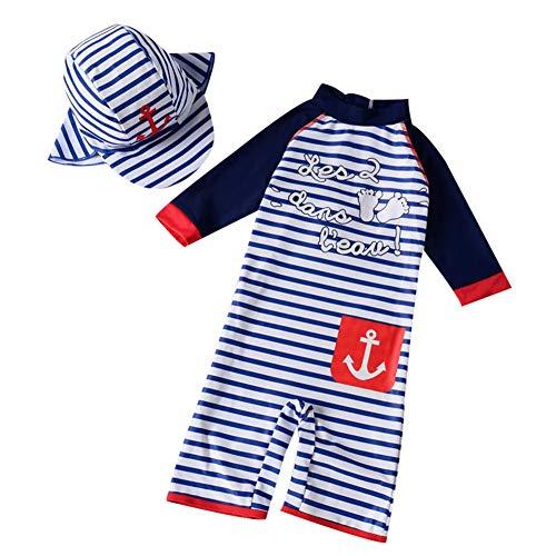 AMIYAN Kinder Baby Jungen Bademode Einteiler StreifenBadeanzug UV-Schutz-Badebekleidung Mit Badekappe (Höhe 80-90cm)