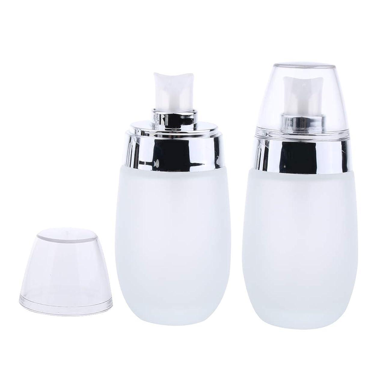 ショッピングセンターはげ五月Perfeclan 2個セット 泡ポンプボトル ローション エッセンス 詰め替え容器 2本 ガラス材料 携帯用 3色選ぶ - 銀