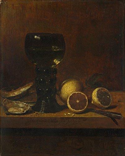 Het Museum Outlet - Jan van de Velde - Stilleven - Een Goblet van Wijn, Oesters en Citroenen - Canvas Print Online Kopen (60 X 80 Inch)
