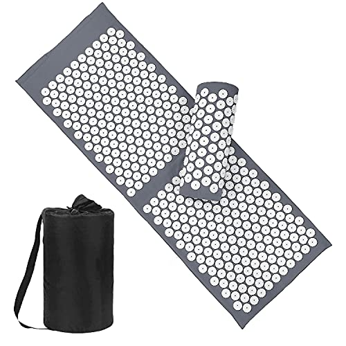 Acupressure Mat and Pillow Set with Bag - Large Size 49.2 X 16.9 inch Massage Body Acupuncture Mat - Naturally Relax Back, Neck and Feet Muscles - Stress and Pain Relief (Gray)