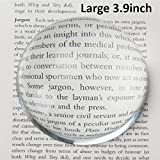 Large 3.9 Inch Glass Dome Magnifier, Paper Weight by Hombae, Genuine Crystal Glass, Easy to Glide Paperweight, Professional Grade Reading Aid for Newspapers, Maps, Books, Large 3.9inch Diameter