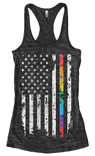 Threadrock Women's Gay Pride Rainbow American Flag Burnout Racerback Tank Top M Black