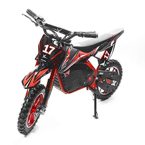 XtremepowerUS 36V Dirt Bike Kids Ride-On Electric Motorcycle Toy Speed up to 17 MPH Shock, Red/Black