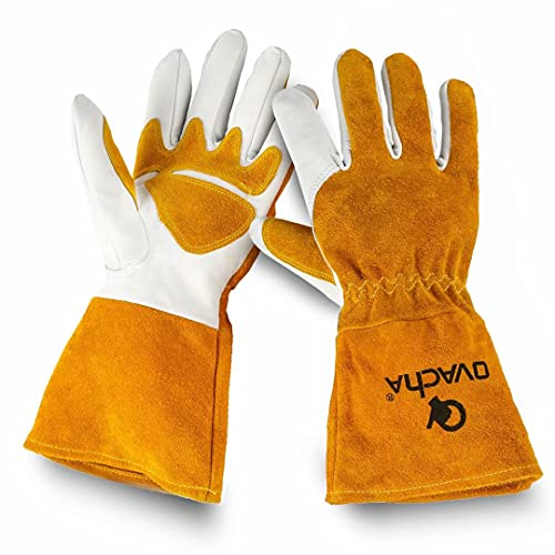Ovacha Men Women Forge Welding Gloves Safety Extra Long Sleeve Heat Resistant Cowhide Gloves