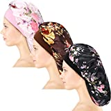 3 Pieces Satin Sleep Cap Elastic Wide Band Hat Night Sleeping Headwear for Sleeping Supplies (30 cm)