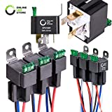 ONLINE LED STORE 6 Pack 4-Pin 12V Bosch Style Fused Relay Switch Kit [Interlocking Harness Socket Holder] [14 AWG Hot Wires] [SPST] [30 Amp] 12 Volt Automotive relays with Fuse for Auto Cars