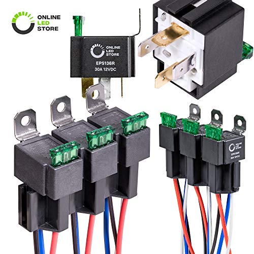 OLS 6 Pack 30A Fuse Relay Switch Harness Set - 12V DC 4-Pin SPST Automotive Relays 14 AWG Hot Wires