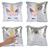 Merrycolor Mermaid Pillow Cover, Unicorn Pillow Case Magic Reversible Sequin Pillow Cover Throw Cushion Case Decorative Pillowcase (F Unicorn- Silver Sequins)
