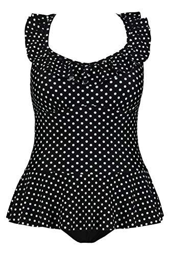 Ulla Popken Damen große Größen Badekleid schwarz/Weiss 48 727628 90-48