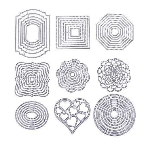 BENECREAT 9 Set Troquel de Corte Diseño de Marco Molde de Acero al Carbono para Álbum de Corte Artesanía de Papel DIY 9 Estilos Diferentes Rectangular Redondo Ovalado Cctogonal Corazón Flor